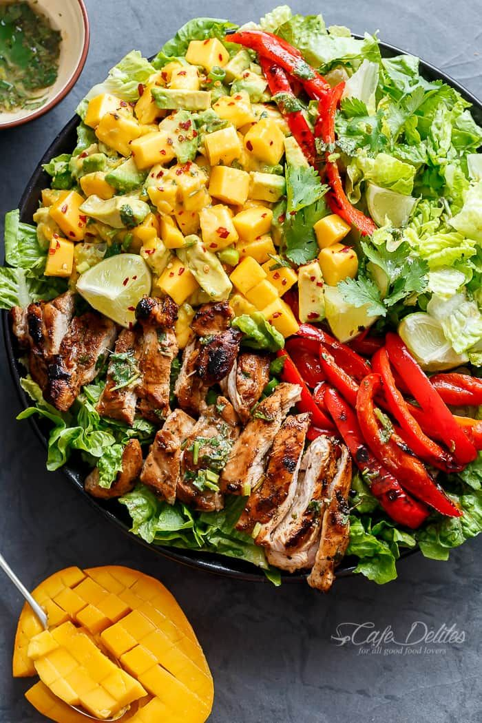 Grilled Cilantro Lime Chicken Salad With A Mango Salsa and a dressing that doubles as a marinade! Easy to make and BIG on flavours!
