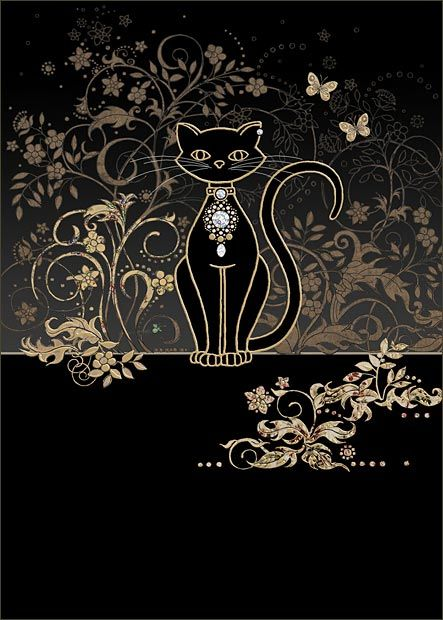 Vine Cat by Jane Crowther. Bug Art greeting cards - this card is embossed with gold & silver foil.