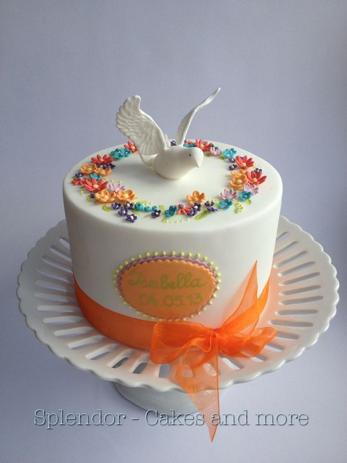My daughter Isabellas Confirmation Cake. Design of the little flowers in a circle inspired by Sannas tartor from Sweden.