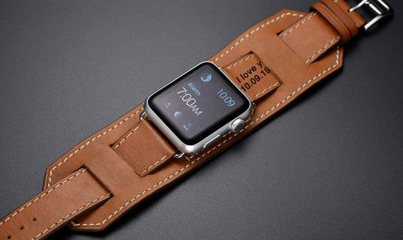 Personalized Engraved Brown Apple Watch Cuff 42mm by StatesStudios