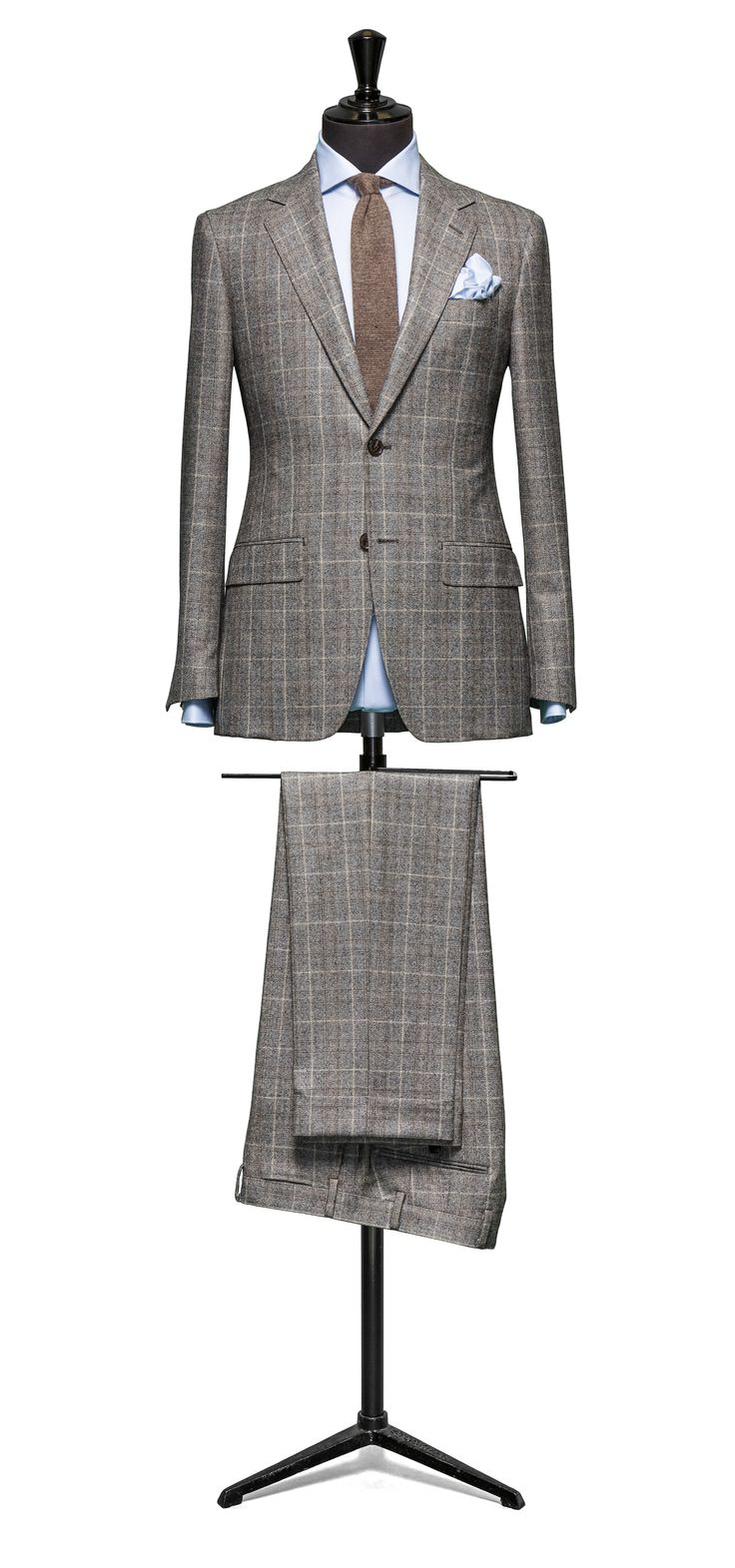 Grey-brown suit Glencheck beige windowpane S120 http://www.tailormadelondon.com/shop/tailored-suit-fabric-4303-check-grey/