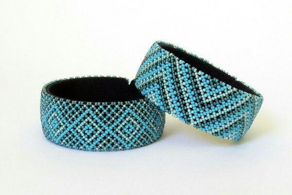 Bracelet en perles Sud Africain Zoulou - Bleus clairs