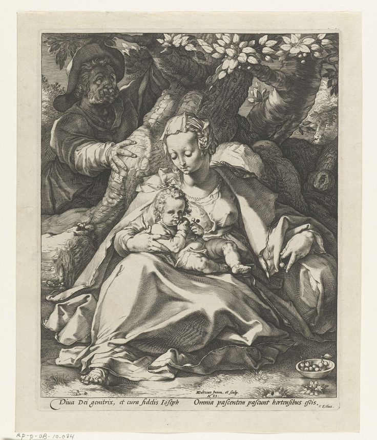 Heilige Familie onder de kersenboom, Hendrick Goltzius, 1589