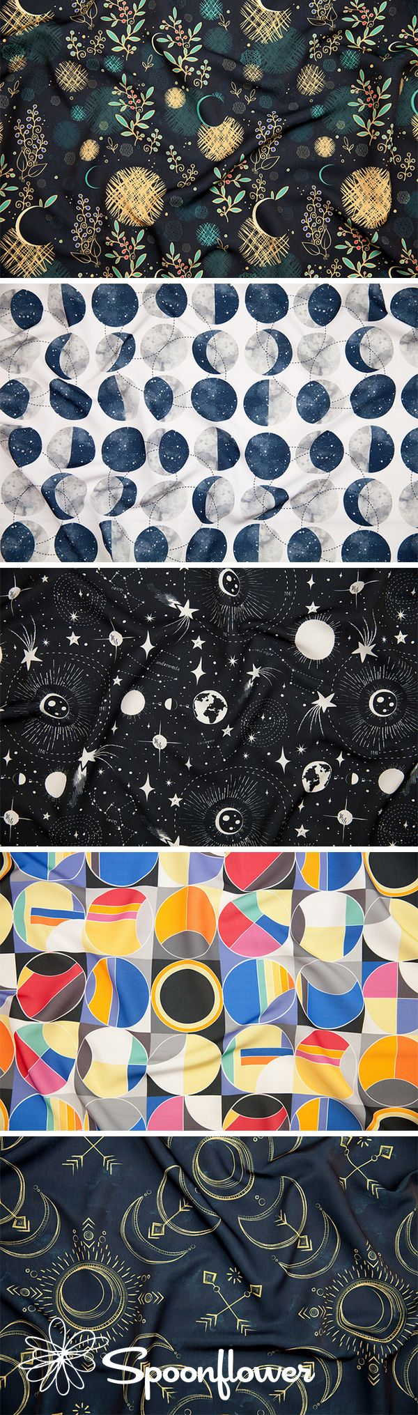 Announcing the Winners of the Solar Eclipse Design Challenge - It's recommended that you don't stare directly at a solar eclipse but we can't take our eyes away from this week's Solar Eclipse design challenge winner, Moon Phase Spot by Hannah Bowman (mottle&daub in the Marketplace)!  These beautiful solar eclipse inspired designs are perfect for DIY home decor, gift wrap, and wallpaper! #fabric #solar #sun #solarsystem #fabrics #design #challenge #designer #surfacedesign
