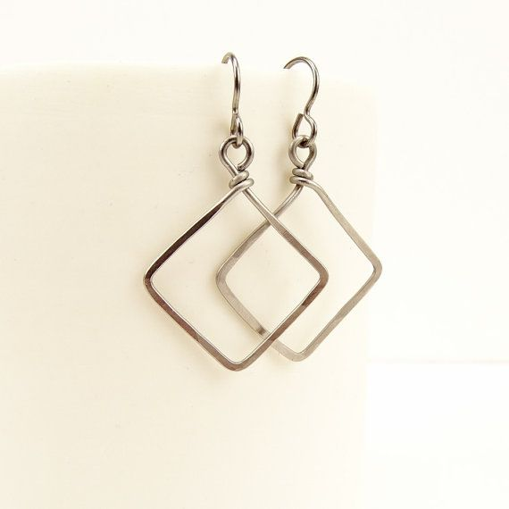 Niobium Square Earrings Hammered Niobium Squares by NonitaJewelry