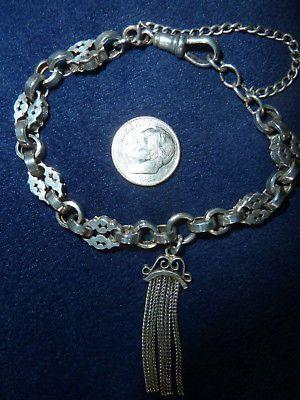 Antique Victorian Sterling Silver Fancy Watch Chain Bracelet W/Tassel Marked