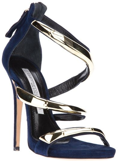 Gianmarco Lorenzi 'Collector' Marine Blue Suede Gold Metallic Strappy Sandal 2013 €1.289 #GML #Lorenzis #Heels