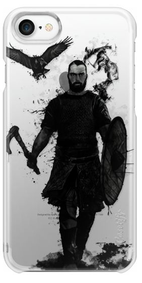 Casetify iPhone 7 Snap Case - To Valhalla - Transparent by Nicklas Gustafsson. Digital illustration of a viking warrior with his axe in one hand and shield in his other with dark spatter and ghostly smoke emerging from his body. The raven is flying above his head as he walks towards the battle. #illustration #viking #warrior #raven #crow #ax #odin #hugin #munin #bird #valhalla #dark #iphone #case #transparent #clear