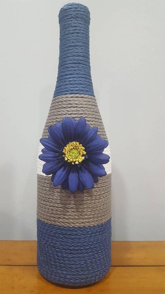 Check out this item in my Etsy shop https://www.etsy.com/listing/551732866/decorated-wine-bottle-blue-gray-and