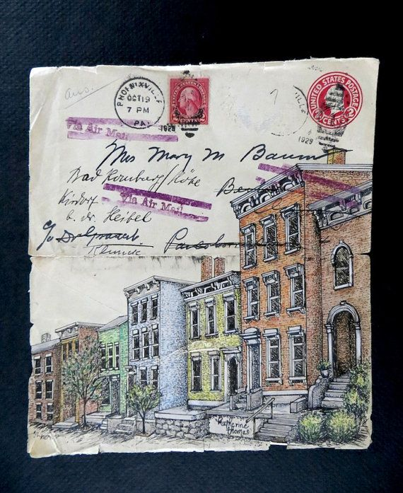 Original Pen and Ink drawing on antique envelope postmarked 1929.By Katherine Thomas