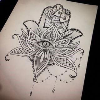 Hamsa Lotus Tattoo – bitte klicken Sie auf Google