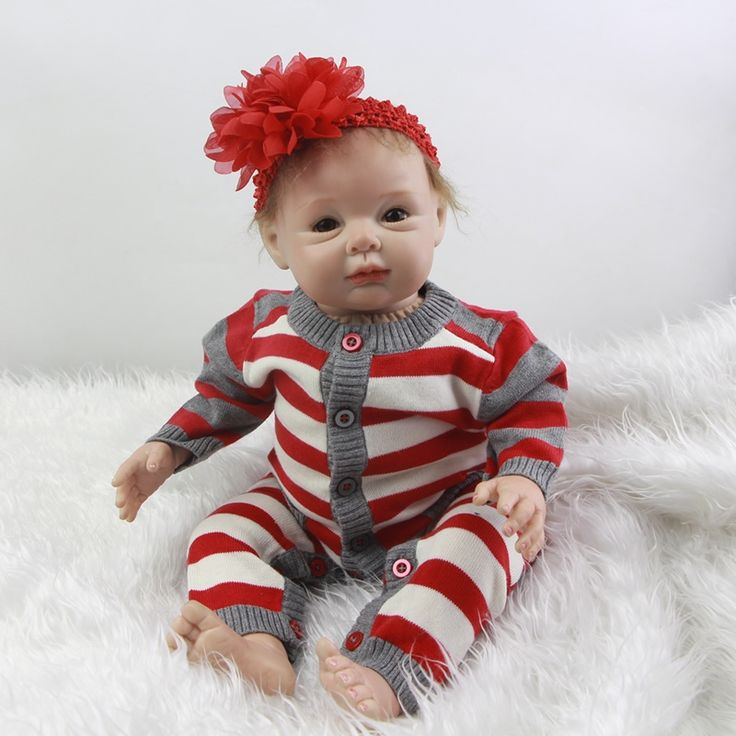 118.15$  Buy now - http://alivhl.worldwells.pw/go.php?t=32756335767 - Alive 22 Inch Lifelike Newborn Baby Doll Realsitic Silicone Babies Dolls Fashion Toy With Stripped Clothes Kids Birthday Gift 118.15$