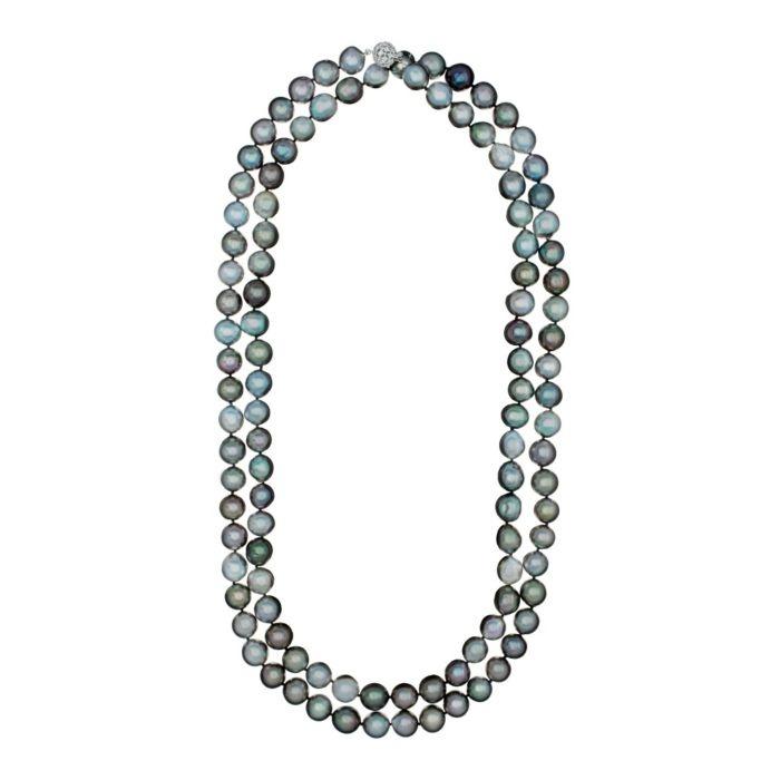 57.5 Long Strand of Tahitian Drop Pearls