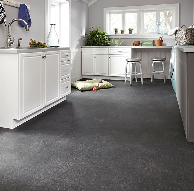 This fashionable yet durable Sheet Vinyl floor from IVC US is perfect for a laundry room or mud room! IVC's Flexitec 7 O'Clock Style Essential in Chanel 539