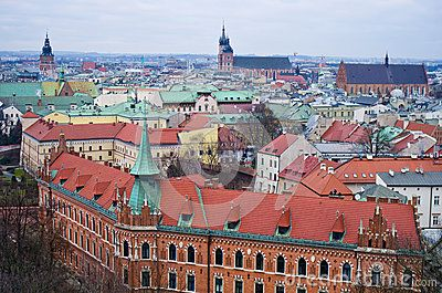 Cracow Krakow Poland. Aerial view of the old town as seen from Wawel hill.