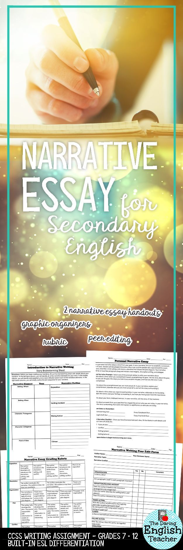 Engage your students in the narrative writing process with this complete narrative essay assignment. This resource includes two different kinds of narrative assignments: a personal narrative and a fictional narrative. This is ideal for the middle school or high school English language arts classroom.