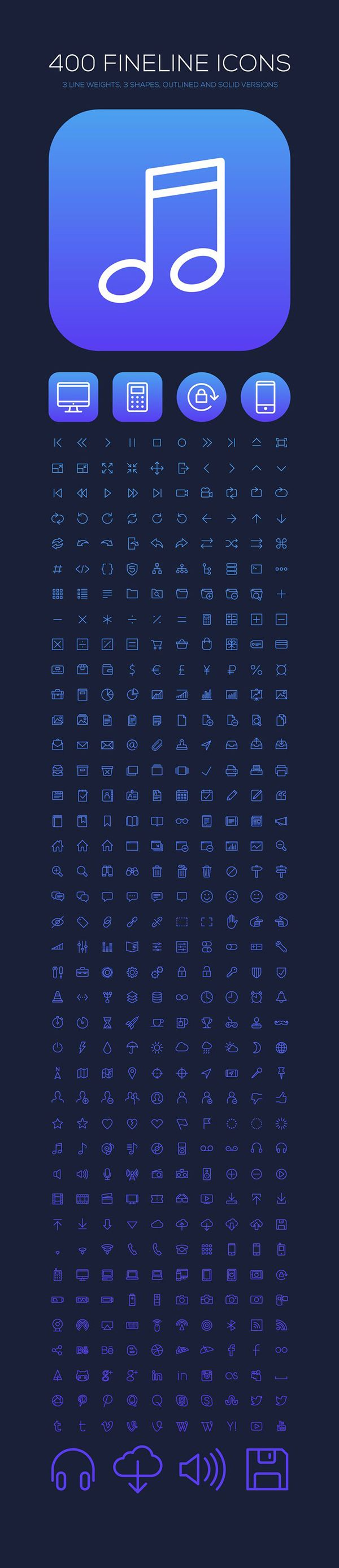 Each icon is provided in 3 different line weights with 3 different shapes (circle, rounded rectangle and square). Each icon is supplied in selected (solid) and unselected (outlined) states. The icons are provided in Adobe Photoshop (PSD) and as vector Ado…