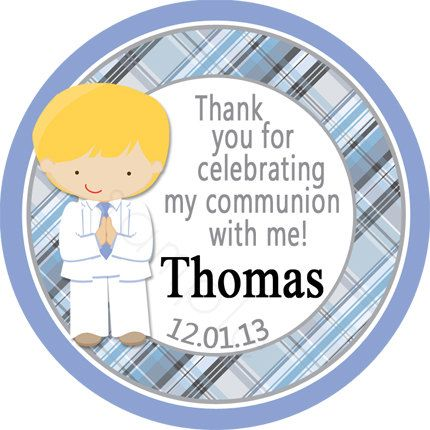 First Communion Boy Blue/Gray Plaid Personalized Stickers - Party Favor Labels, Christening, Holy Communion - Wide Border Design by partyINK on Etsy