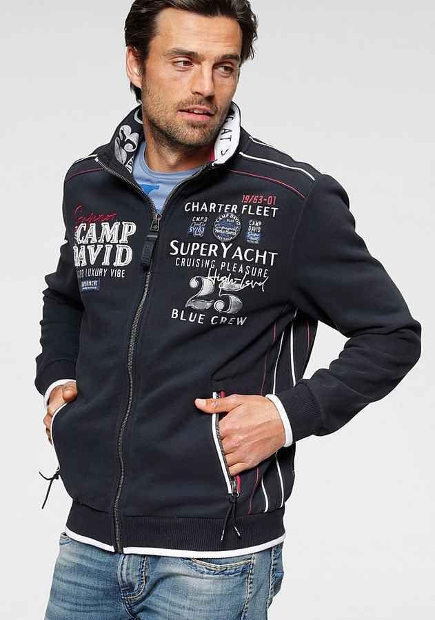 Camp David Sweatjacke Mit Markanter Logo Applikation Online Kaufen Otto Sweatshirt Schwarze Jacke Strickjacke Herren