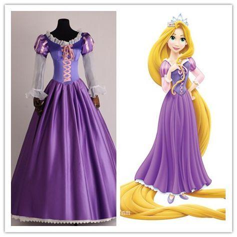 A princesa rapunzel fancy dress trajes adultos para o dia das bruxas/festa de carnaval trajes cosplay de tangled para as mulheres personalizado todo o tamanho