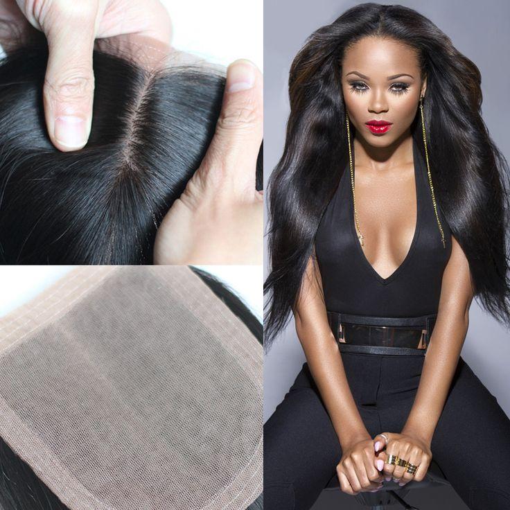 Grade 7A peruvian silk base closure Straight hair  4*4 Free/ Middle /3 Part Silk Base Closure Hidden Knots ** Click the image for detailed description