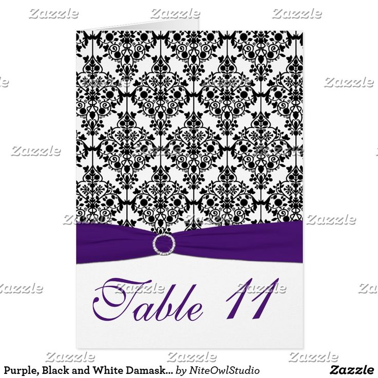 Purple, Black and White Damask Table Number Card This reversible Table card matches the invitation and other items shown below. It is designed in such a way to allow you to use it in one of two ways. You can leave it as is and use it as a normal one-sided card, with the table number showing only on the front side, or you can turn it inside out and have the table number showing on both the front and back. The inside of the card is not glossy like the front side is though, so it won't be…