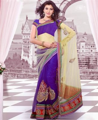 Picture of Gorgeous Bige Brown Party Wear Sarees