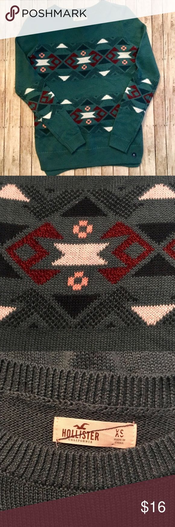 Hollister Tribal Print Sweater • NWOT, never been worn • Soft and comfy • 54% cotton, 34% acrylic • Tag crossed out to prevent returns to store • Hollister Sweaters
