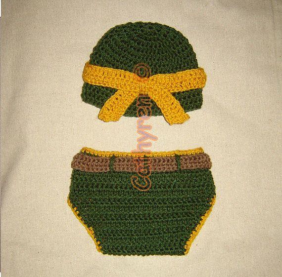 Baby NinJa Turtle Hat and Diaper Cover Set Photo prop
