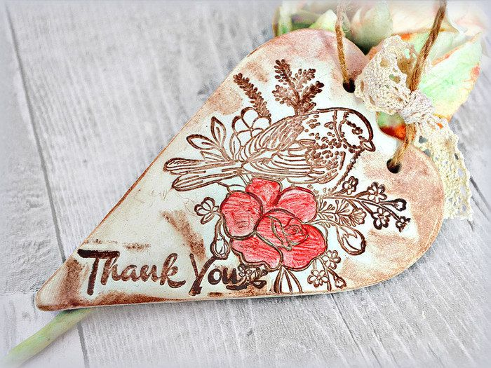 Bird print heart ornament, Unique thank you gift, Rustic home decoration, Appreciation gift , Thank you sign, Thank you card alternative by FrivolousCrafts on Etsy