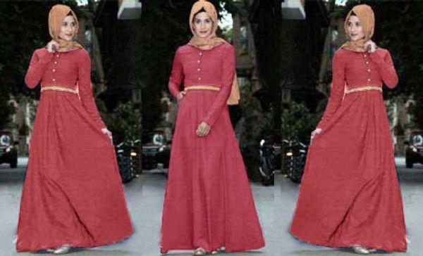 Baju dress muslim terbaru maxi rosa Kl03 salem tua