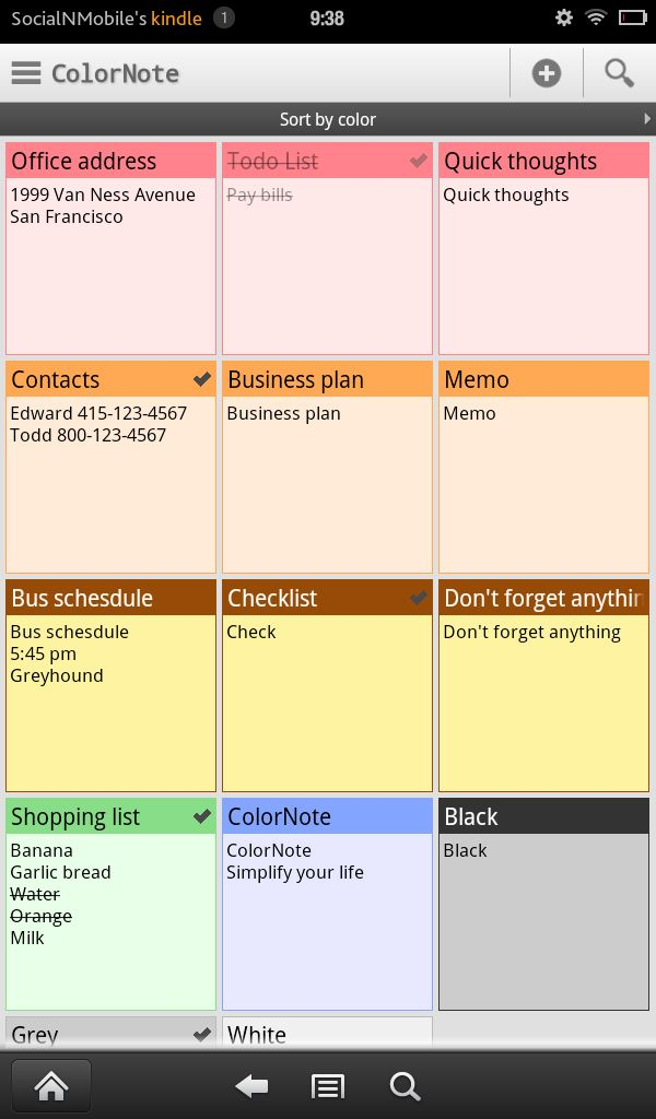 ColorNote Notepad Notes is a flexible and simple program for jotting down things you need to remember or want to share (it includes options for sending notes via email and posting to social networks). It includes a checklist option or making to-do lists, as well as a reminders feature for when you need a little extra help remembering something.