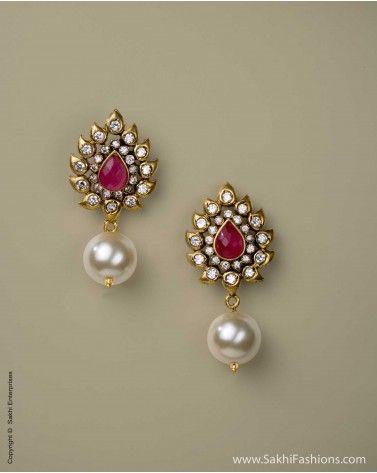 Pearl & Ruby Ear rings