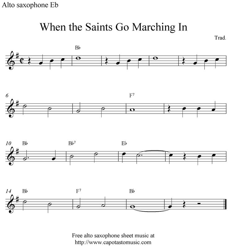 alto saxophone sheet music | ... When the Saints Go Marching In, free alto saxophone sheet music notes