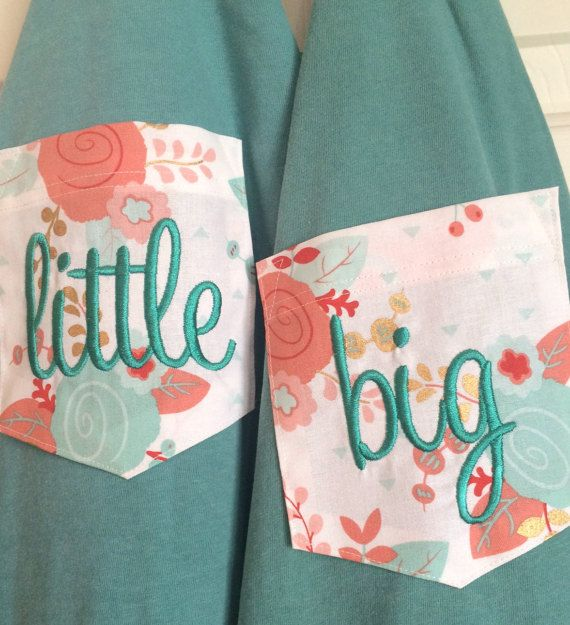 Big Little Sorority Pocket Comfort Colors T Shirt with Mint &
