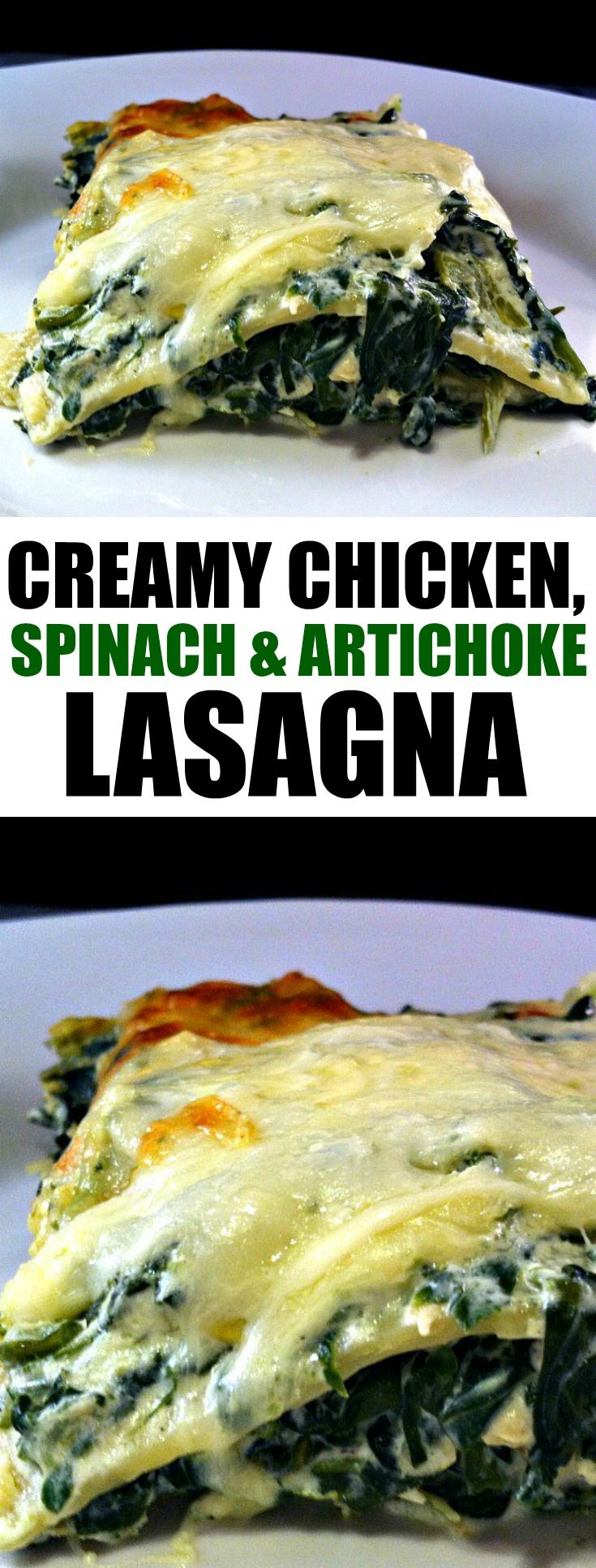 This Spinach, Artichoke & Chicken Lasagna is amazing and delicious! Make something a little different for dinner tonight!