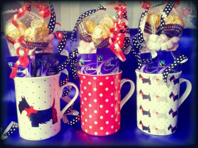 Hot Chocolate, mallow and chocolate mug gift 3 x Cadburys Hot Chocolate 3 x Ferrero Rocher chocolates Sweet cone full of mini mallows in a lovely china mug. Perfect gift or treat as the cold, dark nights draw in! www.facebook.com/sweetngroovystuff #Chocolate #Sweet #Mallow #Hotchocolate #Christmas #Winter #Gift #sweetcart #present #treat #mug #scottie #scottiedog #red #dog #ferreorocher