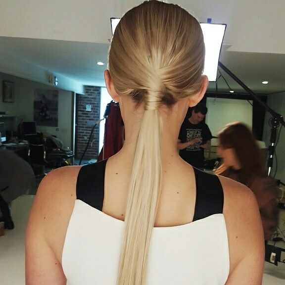 Low sleek ponytail editorial