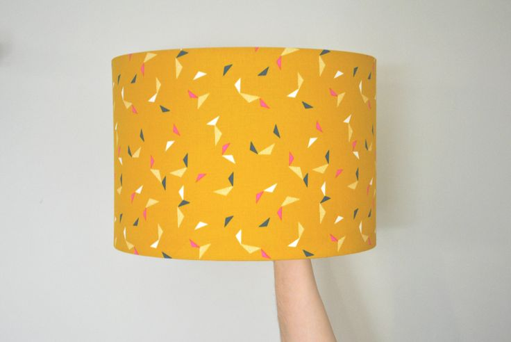 Bright Geometric Drum Lampshade | Hand Rolled | Yellow | Mustard | Ceiling Pendant | Christmas Present | Gift for Her by RukuLampshades on Etsy