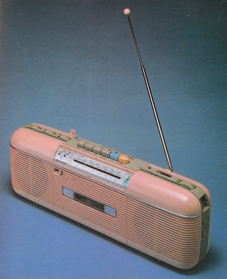 I think I had this radio & I believe it was just after getting my gigantic boom box! QT50 radio cassette recorder designed in 1984 by Sharp