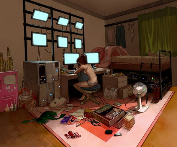 #Cyberpunk, hacker, computers, UI, displays, apartment