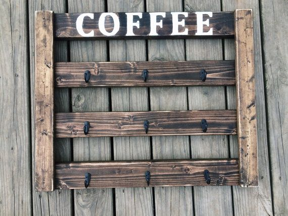 Coffee Mug Display, Coffee mug rack, coffee bar, coffee cup holder, coffee bar decor, Handmade, rustic kitchen decor