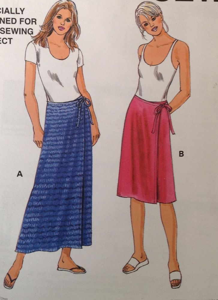 2ec239291 Uncut Kwik Sew 2954 Sewing Pattern Womens Wrap Skirt Easy All Sizes XS S M  L XL