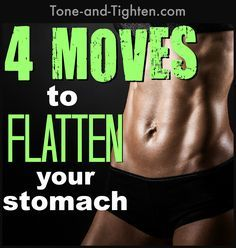 4 awesome ab exercises for a toned, flat stomach. www.Tone-and-Tighten.com