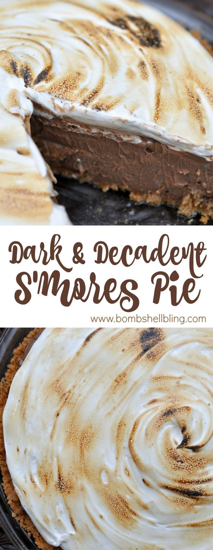 This decadent & dark chocolate s'mores pie takes a childhood favorite and turns it into a divine adult treat for the tastebuds!
