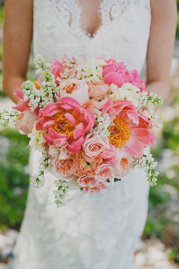 coral charm peony bouquet // Jenna + Blake's Elegant Savannah Wedding   Allure Bridals Blog