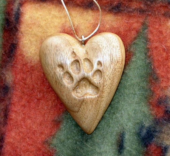 Heart w/ Dog Paw Print Wood Carving Ornament by RedPineStudioMN