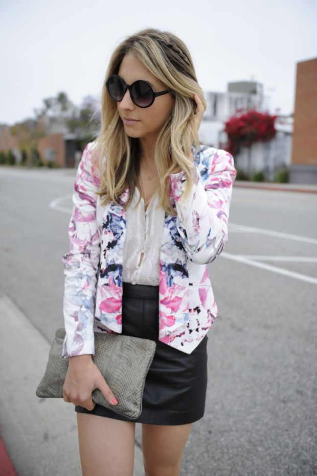 : Light Pink Blazers, Floral Prints, Cupcakes, Leather Skirts, Flowers Prints, Outfit, Prints Blazers, Jackets, Rebeccaminkoff