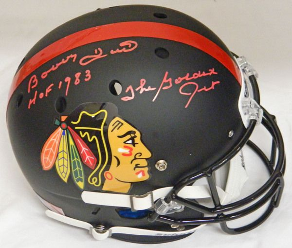 Bobby Hull Signed Chicago Blackhawks Custom Black Matte Full Size Replica Football Helmet w/The Golden Jet, HOF 1983