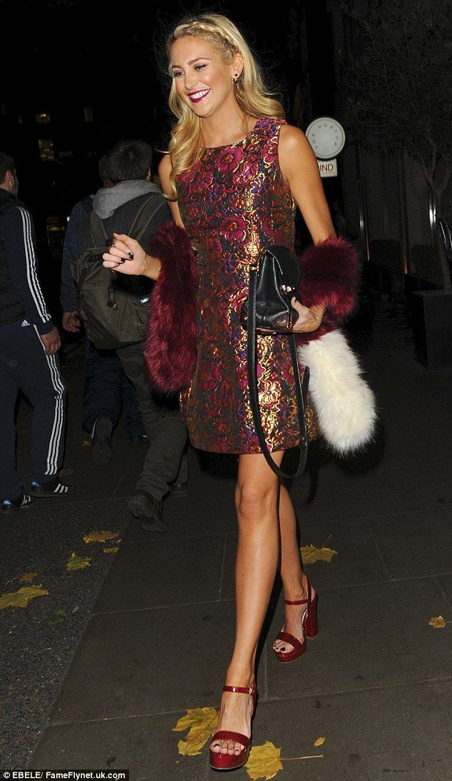 Gorgeous: Made In Chelsea's Stephanie Pratt, 29, put on quite the leggy display as she stepped out for a party thrown by E! at the Hoxton in Holborn, London on Monday night